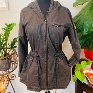 ♻️🌿RVCA   Distressed Cinch Waist Jacket in Grey